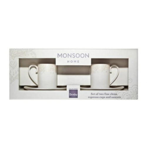 Monsoon Lucille Gold Espresso Cup & Saucer Set X 2